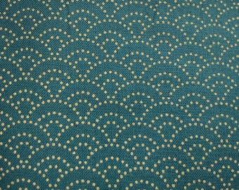Japanese wave in Sachiko, teal, fat quarter, pure cotton fabric