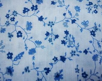 Tiny blue flowers, on white, fat quarter, pure cotton fabric