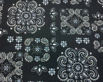Decorative paisley, black, fat quarter, pure cotton fabric