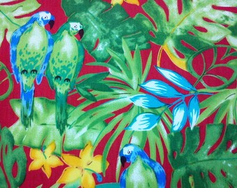 Tropical bird, red, fat quarter, pure cotton fabric