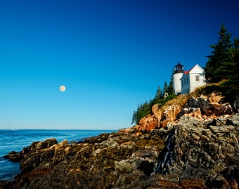 Bass Harbor Head Light with Setting Moon Landscape Photography Maine Lighthouse Photograph Color Morning Light Ocean Nature Wall Art Print