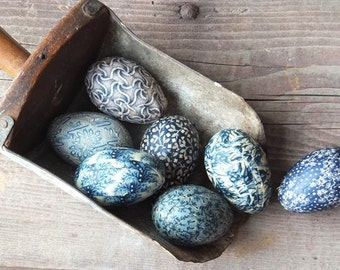 Primitive Blue Easter Eggs Bowl Fillers, Colonial Farmhouse Country Decor, Easter Decoration