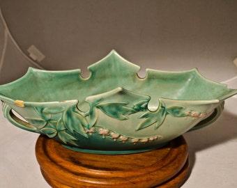 Damaged Roseville Console Bowl, Bleeding Heart Pattern, planter bowl, No. 384-14