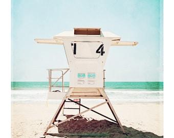 "Lifeguard Photography - beach photo pale aqua turquoise blue coastal picture light white seashore wall art seaside cream, ""Lifeguard #14"""