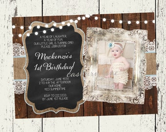 1st Birthday Invite-Photo-Vintage Girl First Birthday Party-Burlap and Lace-Casbury Lane