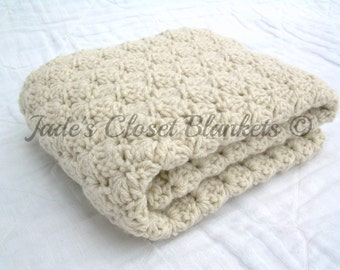 Crochet Baby Blanket, Baby Blanket, Crochet Off White Baby Blanket, Oatmeal, Neutral, travel stroller size