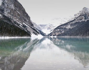 Lake Louise Mountains Photography Print 12x18 Fine Art Banff Canadian Rockies Wilderness Snow Winter Landscape Photography Print.