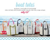 Monogrammed Canvas Tote Bag - Two Sizes & More Colors Available