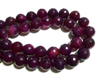 Red Violet Agate - Faceted 14mm Round - Full Strand - 28 beads