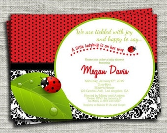 Ladybug Baby Shower Invitation, Girl Baby Shower Invitation, Damask Ladybug Birthday Invitation-DIY