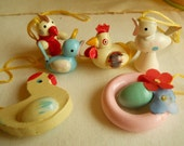 Vintage Wood Painted Easter Tree Decorations 6 Pastel Ornaments With Gold Silk Hanging Cords Spring Decorations Easter Tree Supplies