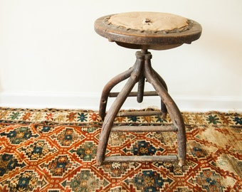 DISCOUNTED Victorian Antique Industrial Wooden Stool