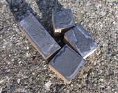 Vintage metal print blocks mounted on wood
