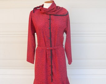 Vintage Red Print Button Up Dropped Waist Dress & Scarf Neck by Lahn's Florida LIKE NEW