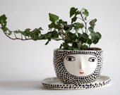 Wonky polka dot planter with plate - 3D face - hand-built