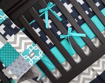 Modern Boy Bedding - Gray, Navy and Turquoise Baby Bedding - Bedding Crib Set