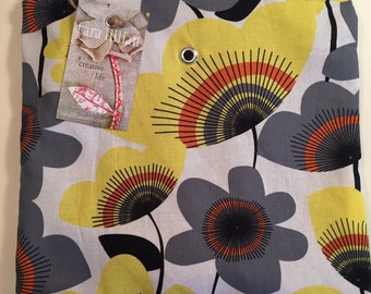 Knitting Project Bag/ knitting and crochet pouch with black zipper and grommet Grey and Yellow Pop Flower print with grey lining