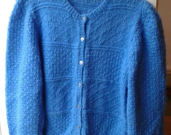 Blue textured handknit wool mix cardigan L