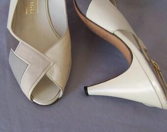 vintage Bruno Magli colorblock sling back summer sandals heels 8B