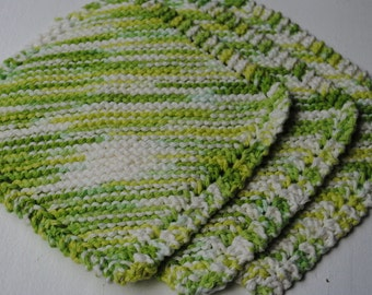 Set of 3 Cotton Dish Cloths, Greens and Yellows, 100% cotton, biodegradable, green, environmentally friendly