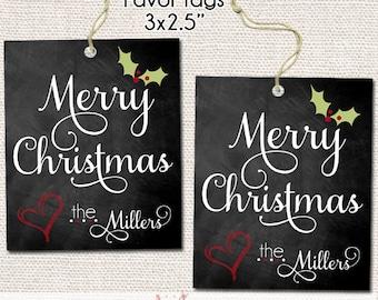 Merry Christmas Printable Gift Tags - Chalkboard Gift Tags - Personalized Christmas Gift Tags - Holiday Tags - Printable