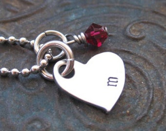Valentines Day - Hand Stamped Jewelry - Initial Necklace - Girls Necklace - Mothers Necklace