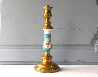 French Antique Table Lamp 19th. Superb Romantic French Brass lighting Turquoise Flowers French Home Decor French Porcelain