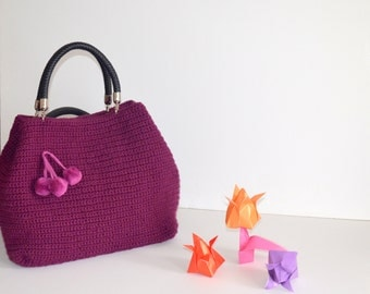 Bag // Purple  Crocheted Handbag Celebrity Style,Crochet winter  bag- shoulder bag- crochet bag-