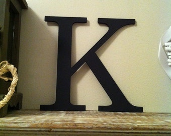 Wooden Wall Letter - Hand-Painted - Roman Font - K