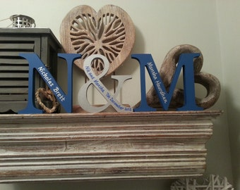 Wooden Wedding Letters - Freestanding - Set of 3 - Photo Props - 20cm, hand-painted, personalised