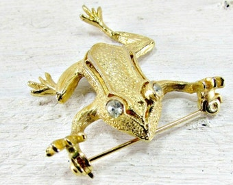 Vintage Gold Frog Brooch Pin, Animal Figural Brooch Pin, 1970s Vintage Jewelry, Woodland Nature Frog Jewelry, Frog Gift, Mothers Day Gift
