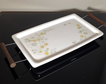 Corning Ware Yellow Floral Pattern Tray with Metal Stand and Teak Handles