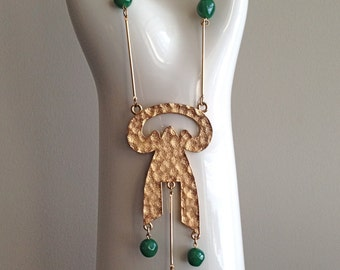Napier Modernist Green Glass Bead Necklace