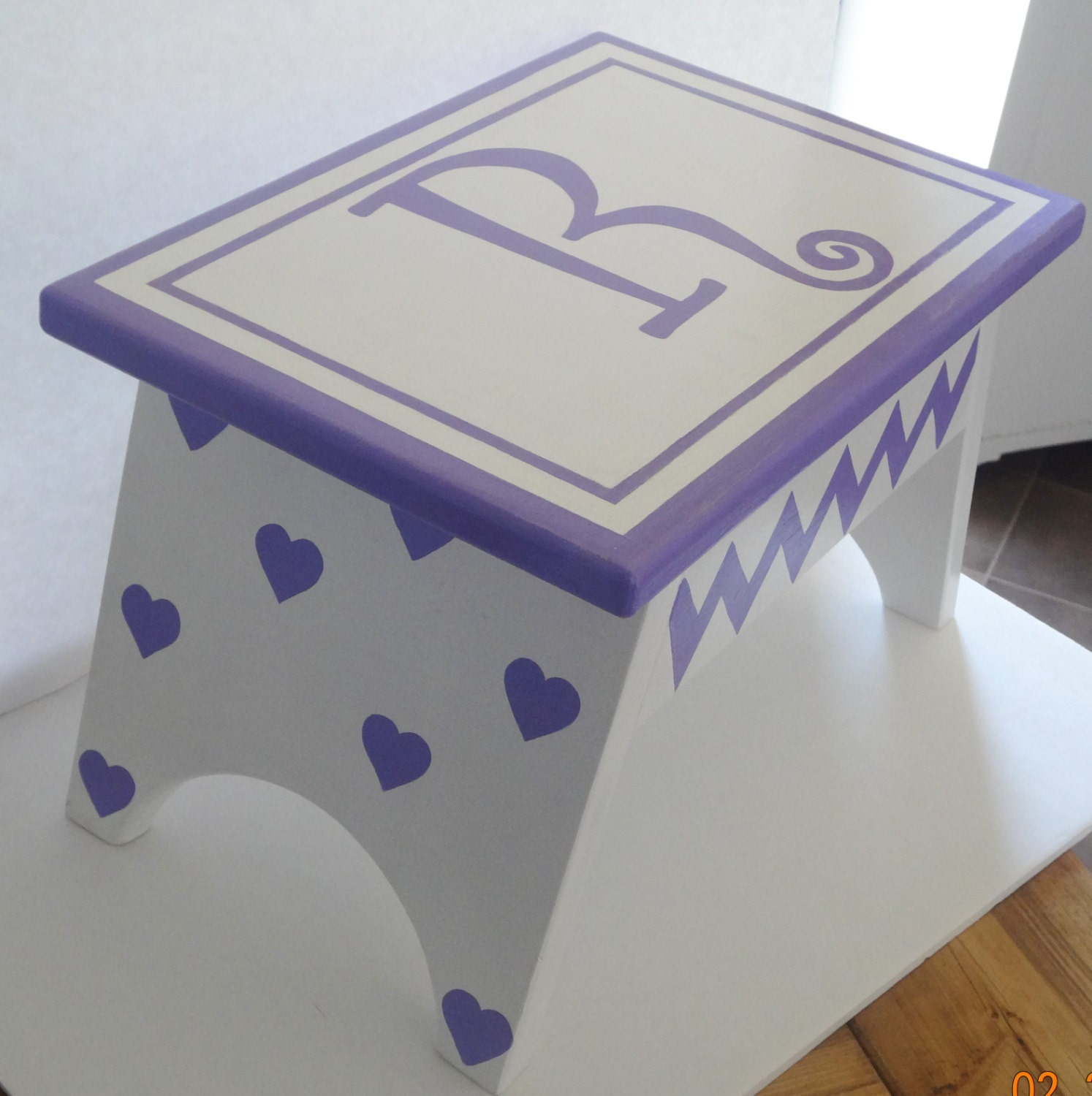 Heart Step Stool Purple Footstool Kids Step Stool Girls