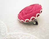 Fabric Flower Brooch in Camellia Pink, Silver and Lace - Bold and Beautiful