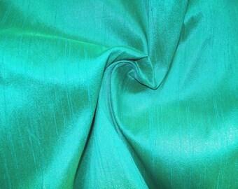 Wholesale fabric 6 yards of 100% pure dupioni silk in Aqua blue