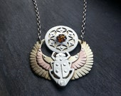 Winged Scarab Pendant holding Seed of Life with Amber - Egyptian - Handcrafted Sacred Geometry Jewellery