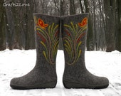 Felt boots. Felted winter knee high boots. Wet felted boots, outdoor. US women 8.5 - 9. Grey with terracotta orange butterflies.