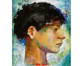 Original Oil Painting on wood panel, Figure painting, Original Figure painting,  Portrait of a young man, Slip 11 by 14 inches