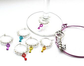 Wine Charms Set of Six Silver with colorful keys with wine charm keeper