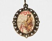 Bicycle Monkey Necklace, Bike Jewelry, Monkeys, Monkey Riding Bike, Monkey Jewelry, Oval Pendant