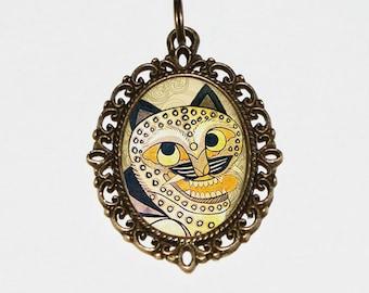 Horangi Tiger Necklace, Korean Tiger, Korean Folk Jewelry, Ancient Tiger, Oval Pendant