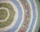 Handmade Blue and Green Round Area Rug- For Etsy