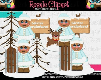 Winter Gingerbread Boys 1 Clipart (Digital Download)
