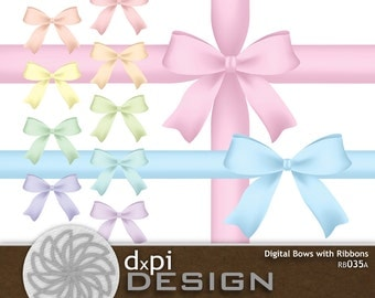 Pastel Bows and Ribbons - Digital Scrapbook Clip Art Baby Bows - Printable Ribbons in Soft Pastel Colors - Instant Download (RB035A)