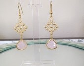 Gold and Faceted Rose Quartz Glass Dangle Earrings