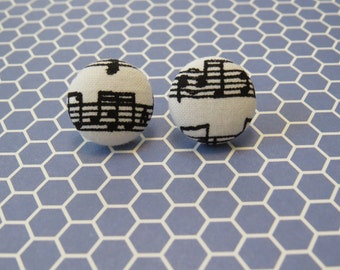 Music Notes Fabric Earrings