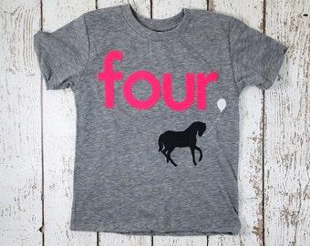 Children's birthday shirt Horse party pony tee girls boys shirt Birthday Shirt Organic blend Tee Horses cowboy ranch horse back riding