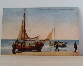 Lovely WWI Era Postcard of Holland Fishing Boats
