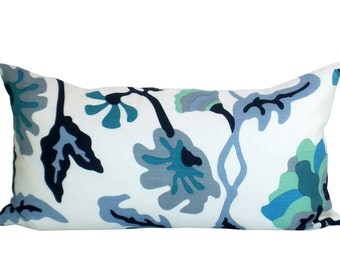 Potalla lumbar pillow cover in Multi Blues on White